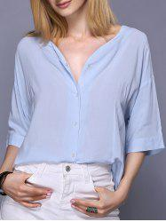 Trendy 3/4 Sleeve V-Neck Loose-Fitting Pure Color Women's Blouse -