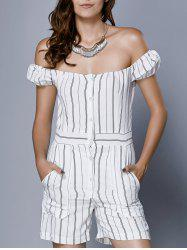 Chic Women's Off The Shoulder Striped Romper -
