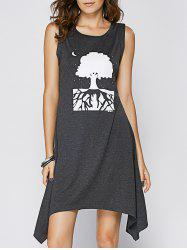 Casual Scoop Neck Printed Asymmetrical Tank Dress For Women -