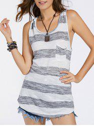 Striped Front Pocket Tank Top -
