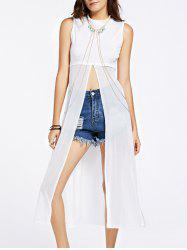 Stylish Spliced See-Through Split Tank Top For Women -
