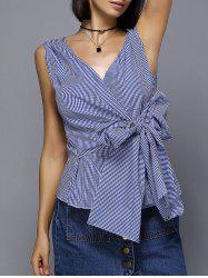 Stylish V-Neck Striped Knot Top For Women -