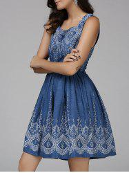 Stylish Sleeveless Floral Pattern Women's Denim Dress