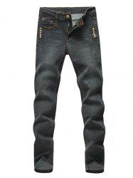 Rivets Embellished Straight Zip Fly Denim Pants - DEEP GRAY