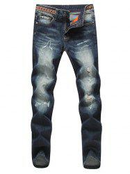 Modish Jambe droite Bleach Wash Zipper Fly Men 's  Ripped Jeans - Bleu Foncé