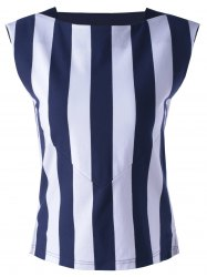 Striped Contrast Tank Top - STRIPE S