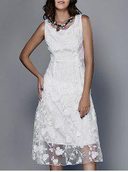 Guipure Embroidery White Dress