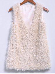 Stylish V-Neck Sleeveless Faux Lamb Wool Solid Color Women's Waistcoat
