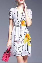 Belted Single-Breasted Printed Dress -