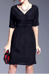 Black Packet Buttock Silk Dress -