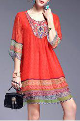 Ethnic Style Printed Beading Dress