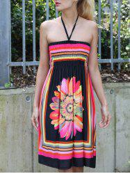 Halter Sleeveless Bohemian Floral Summer Dress