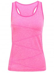 Space Dyed U Neck Racerback Running Vest - Rose Rouge