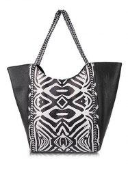 Trendy Tribal Print and Chains Design Shoulder Bag For Women