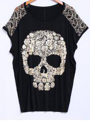 Street Style Lace Scoop Neck Loose-Fitting Short Batwing Sleeve Splicing Skull Pattern Women's T-Shirt - BLACK