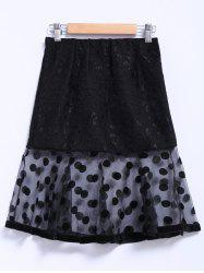 Chic Style Organza Splicing Polka Dot Print Ruffles Black Women's Skirt -