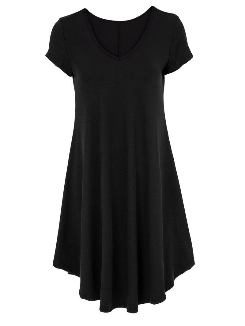V-Neck Ruffled Casual Tunic Dress With SleevesWOMEN<br><br>Size: XL; Color: BLACK; Style: Casual; Material: Silk; Silhouette: Asymmetrical; Dresses Length: Knee-Length; Neckline: V-Neck; Sleeve Length: Short Sleeves; Pattern Type: Solid; Elasticity: Super-elastic; With Belt: No; Season: Summer; Weight: 0.2700kg; Package Contents: 1 x Dress;