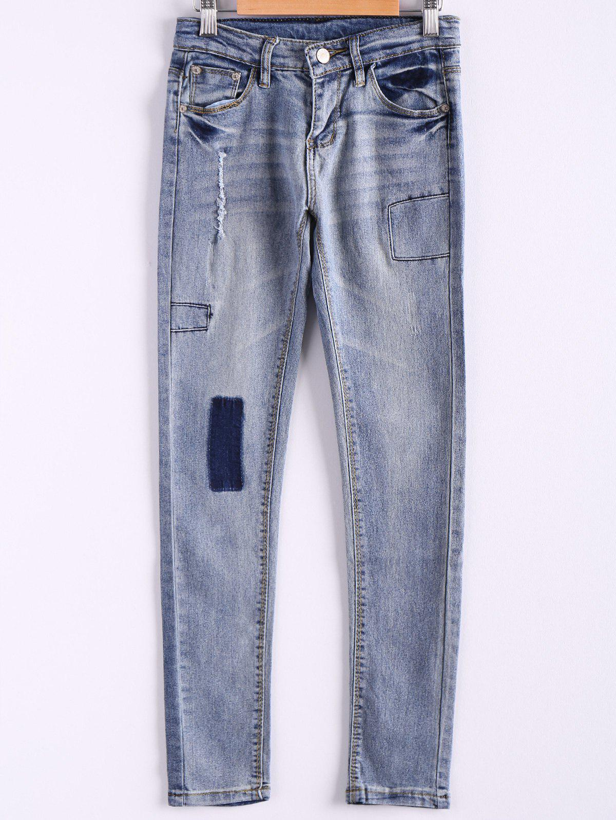Unique Bleach Wash Pockets Slimming Pencil Jeans
