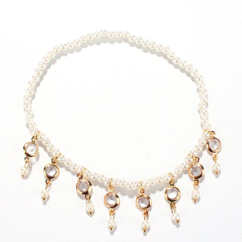 Sale Faux Pearl Hollow Out Round Alloy Tassel Beaded Anklets