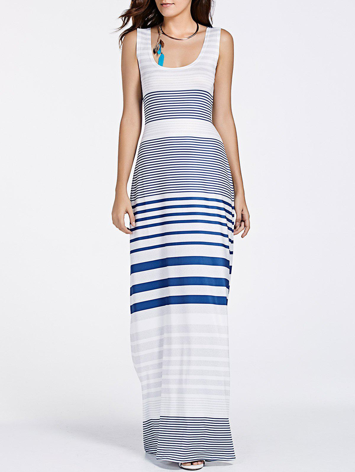 Stylish U Neck Sleeveless Cut Striped Maxi Dress Women M