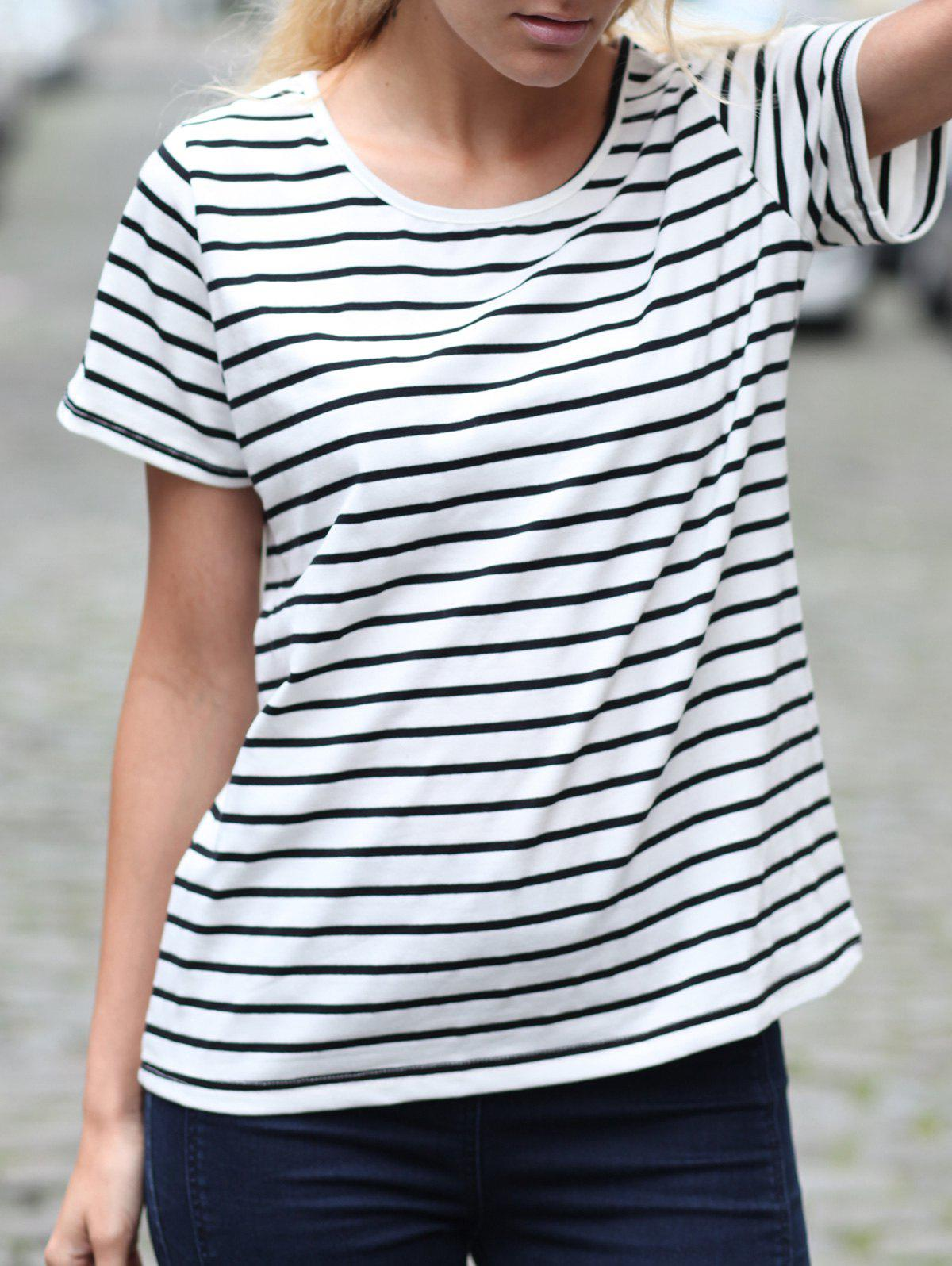 Chic Casual Cuffed Sleeve Striped Pullover T-Shirt For Women