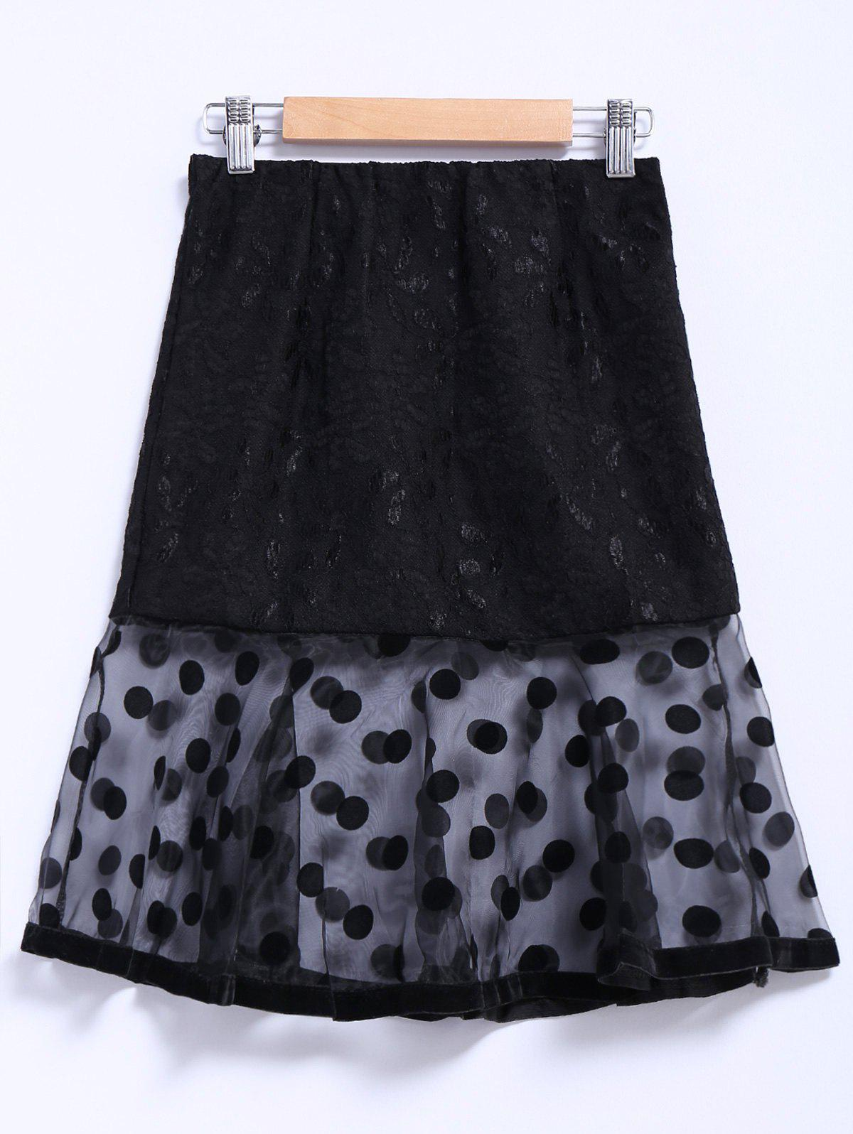 Chic Style Organza Splicing Polka Dot Print Ruffles Black Womens SkirtWOMEN<br><br>Size: L; Color: BLACK; Material: Cotton,Spandex; Length: Mid-Calf; Silhouette: Trumpet/Mermaid; Pattern Type: Polka Dot; Embellishment: Spliced; Weight: 0.550kg; Package Contents: 1 x Skirt;
