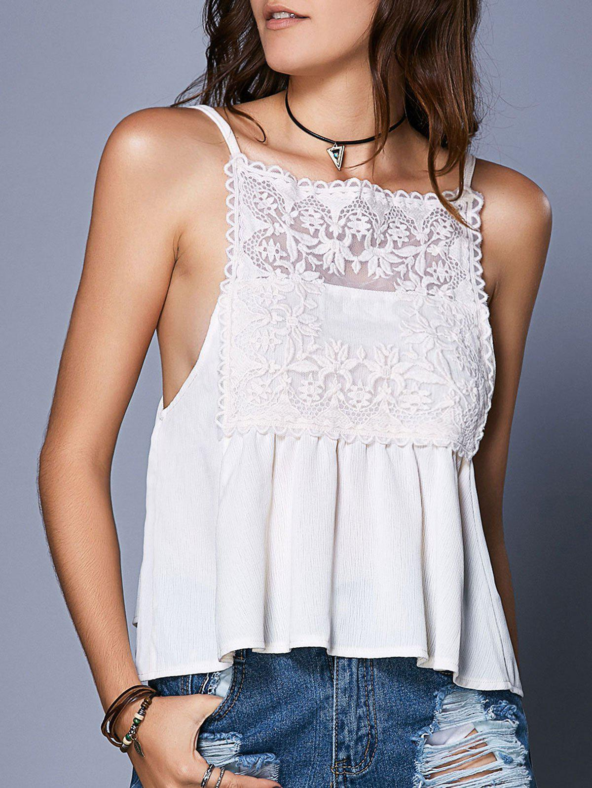 Outfit Sweet Spaghetti Strap Lace Openwork See-Through Women's Tank Top