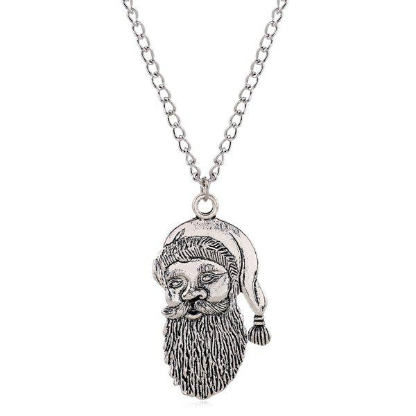 Vintage Father Christmas NecklaceJEWELRY<br><br>Color: SILVER; Item Type: Pendant Necklace; Gender: For Women; Necklace Type: Link Chain; Metal Type: Alloy; Style: Trendy; Shape/Pattern: Character; Length: 70CM; Weight: 0.050kg; Package Contents: 1 x Necklace;