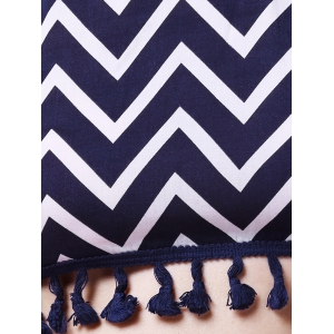 Halter Zig Zag Crop Top and Dolphin Shorts Suit - PURPLISH BLUE L