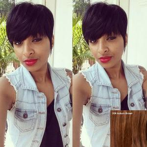 Stylish Full Bang Short Human Hair Wig For Women