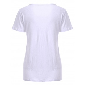 Fashionable Scoop Neck Print T-Shirt For Women - WHITE XL