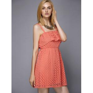 Trendy Spaghetti Strap Hollow Out Solid Color Flounce Women's Dress -