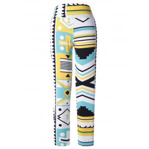 Stylish Multi Pattern Print Elastic Waist Pants For Women -