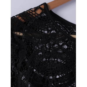 Fashionable Lace Round Neck Openwork Long-Sleeved Blouse For Women -