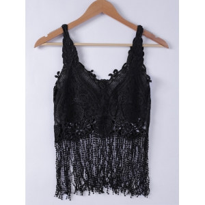 Sweet Sccop Neck Fringe Openwork Sleeveless Tank Top For Women -