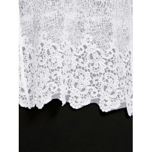 Stylish 3/4 Sleeve Collarless Hollow Out Women's Lace Blouse -
