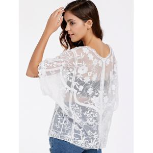 Alluring Half Sleeve Round Neck Women's Lace Blouse -