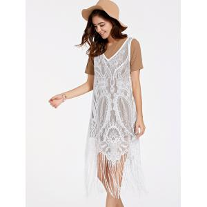 Casual Short Sleeve Top + Fringed Lace Dress Women's Twinset -