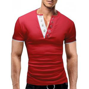 V-Neck Becket Embellished Solid Color Short Sleeve T-Shirt For Men