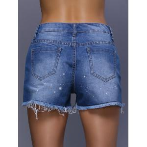 High Waist Rippped Cut Off Denim Shorts - DENIM BLUE XL