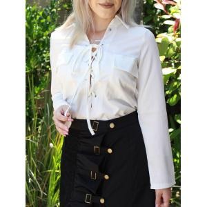 Turn-Down Collar Long Sleeve White Lace-Up Women's Shirt