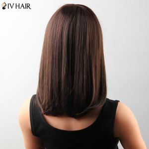 Attractive Medium Straight Tail Adduction Human Hair Capless Neat Bang Siv Wig For Women -