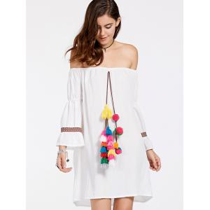 Stylish Off-The-Shoulder Colorful Ball Design Women's Dress -