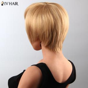 Stunning Short Straight Human Hair Side Bang Capless Siv Wig For Women - BROWN/BLONDE