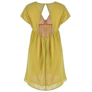 Fashionable V-Neck Cap Sleeve Cut Out Ruffle Dress For Women - YELLOW L