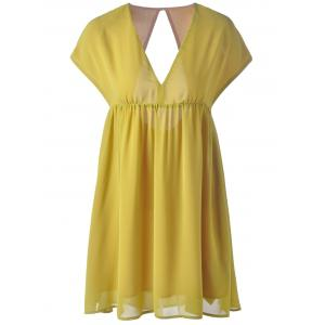 Fashionable V-Neck Cap Sleeve Cut Out Ruffle Dress For Women