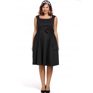 Vintage Plus Size Square Neck Cap Sleeve Bowknot Embellished Dress For Women -