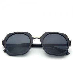 Stylish Retro Round Lenses Irregular Rim Unisex Black Sunglasses -