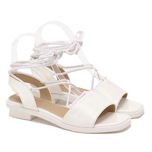 Concise PU Leather and White Colour Design Sandals For Women -