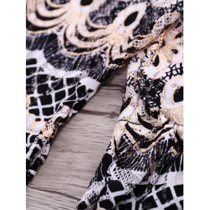 Ethnic Style Off-The-Shoulder Bell Sleeves Printed Three-Piece Swimsuit For Women -